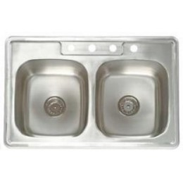 Amerisink AS111 Builder Line Top Mount Stainless Steel Double Sink