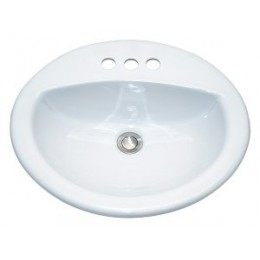 Amerisink AS2104 Top Mount Porcelain Bathroom Vanity Sink White