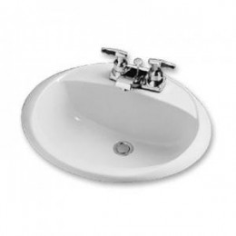Amerisink AS2108 Top Mount Porcelain Bathroom Vanity Sink White