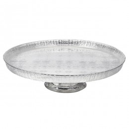 Badash Crystal D108S Antique Silver 13 inch Footed Cakeplate