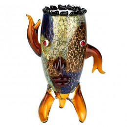 Badash Crystal J524 Murano Style Art Glass Vase with a Face