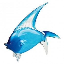 Badash Crystal J568 Light Blue Art Glass Tropical Fish 15.5
