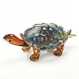 Badash Crystal J570 Firestorm Art Glass Turtle 12