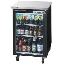Beverage Air BB24HC-1-G-B Black Back Bar Refrigerator with 1 Glass Door 24