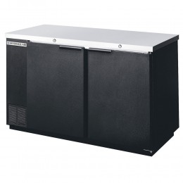 Beverage Air BB58HC-1-B Black Back Bar Refrigerator with 2 Solid Doors 59