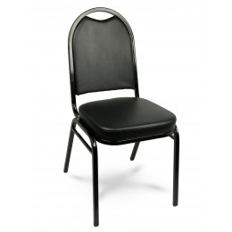 Carroll Chair 1-130-000 Dome Back Stack Chair Black Vinyl