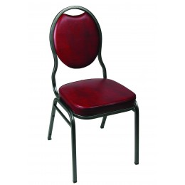 Carroll Chair 1-151-001 Hourglass Back Stack Chair Burgundy Vinyl
