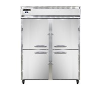 Continental DL2RES-SA-HD Stainless Steel Exterior Extra Wide Narrow Depth Half Door Designer Line Reach In Refrigerator 57