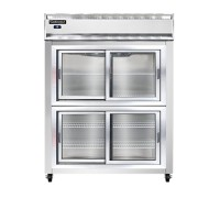 Continental 2RES-SGD-HD Sliding Glass Half Door Extra Wide Shallow Depth Reach In Refrigerator 57