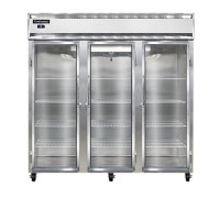 Continental DL3R-SA-GD Stainless Steel Exterior Designer Line Glass Door Reach In Refrigerator 78