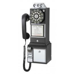 Crosley CR56-BK 1950s Classic Pay Phone Black