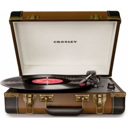 Crosley CR6019D-BR Executive Deluxe Bluetooth Portable USB Turntable Brown