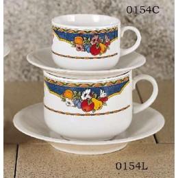 European Gift 0154L Harvest Design 20 oz Latte Cups and Saucers 2/Set