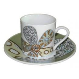 European Gift 0370 Modern Flower Design Cups & Saucers Set of 6