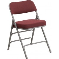 Flash Furniture AW-MC320AF-BG-GG Hercules Series Premium Curved Triple Braced & Double Hinged Burgundy Fabric Metal Folding Chair