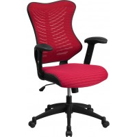 Flash Furniture BL-ZP-806-BY-GG High Back Designer Burgundy Mesh Executive Swivel Chair with Adjustable Arms