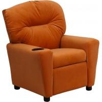 Flash Furniture BT-7950-KID-MIC-ORG-GG Contemporary Orange Microfiber Kids Recliner with Cup Holder