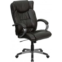 Flash Furniture BT-9088-BRN-GG High Back Espresso Brown Leather Executive Swivel Chair with Arms