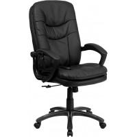 Flash Furniture BT-9585P-GG High Back Massaging Black Leather Executive Swivel Chair with Arms