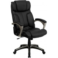 Flash Furniture BT-9875H-GG High Back Folding Black Leather Executive Swivel Chair with Arms