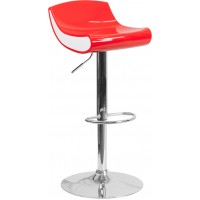 Flash Furniture CH-101010-RED-GG Contemporary Red and White Adjustable Height Plastic Barstool with Chrome Base