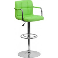 Flash Furniture CH-102029-GRN-GG Contemporary Green Quilted Vinyl Adjustable Height Barstool with Arms and Chrome Base