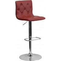 Flash Furniture CH-112080-BURG-GG Contemporary Tufted Burgundy Vinyl Adjustable Height Barstool with Chrome Base