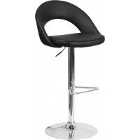 Flash Furniture CH-132491-BK-GG Contemporary Black Vinyl Rounded Back Adjustable Height Barstool with Chrome Base