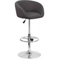 Flash Furniture CH-TC3-1066L-BKFAB-GG Contemporary Charcoal Fabric Adjustable Height Barstool with Chrome Base