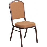 Flash Furniture FD-C01-C-4-GG Hercules Series Crown Back Stacking Banquet Chair in Brown Fabric - Copper Vein Frame
