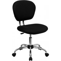 Flash Furniture H-2376-F-BK-GG Mid-Back Black Mesh Swivel Task Chair with Chrome Base
