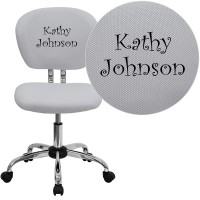 Flash Furniture H-2376-F-WHT-TXTEMB-GG Personalized Mid-Back White Mesh Swivel Task Chair with Chrome Base