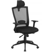 Flash Furniture HL-0004K-HR-GG High Back Black Mesh Executive Swivel Chair with Back Angle Adjustment and Adjustable Arms