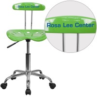 Flash Furniture LF-214-SPICYLIME-TXTEMB-VYL-GG Personalized Vibrant Spicy Lime and Chrome Swivel Task Chair with Tractor Seat