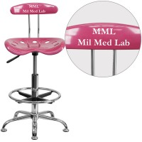 Flash Furniture LF-215-PINK-TXTEMB-VYL-GG Personalized Vibrant Pink and Chrome Drafting Stool with Tractor Seat