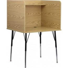 Flash Furniture MT-M6221-OAK-GG Study Carrel with Adjustable Legs and Top Shelf in Oak Finish