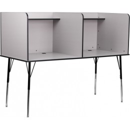 Flash Furniture MT-M6222-GRY-DBL-GG Double Wide Study Carrel with Adjustable Legs and Top Shelf in Nebula Grey Finish