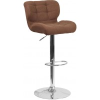 Flash Furniture SD-SDR-2510-BRN-FAB-GG Contemporary Tufted Brown Fabric Adjustable Height Barstool with Chrome Base