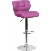 Flash Furniture SD-SDR-2510-PUR-GG Contemporary Tufted Purple Vinyl Adjustable Height Barstool with Chrome Base