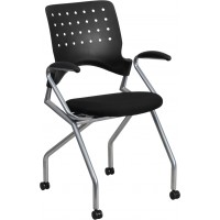 Flash Furniture WL-A224V-A-GG Galaxy Mobile Nesting Chair with Arms and Black Fabric Seat