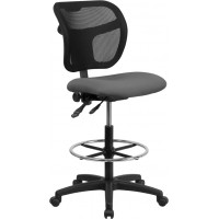 Flash Furniture WL-A7671SYG-GY-D-GG Mid-Back Gray Mesh Drafting Chair