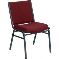 Flash Furniture XU-60153-BY-GG Hercules Series Heavy Duty Burgundy Patterned Fabric Stack Chair with Ganging Bracket