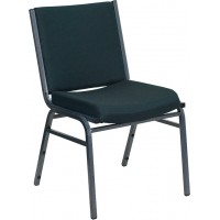 Flash Furniture XU-60153-GN-GG Hercules Series Heavy Duty Green Patterned Fabric Stack Chair with Ganging Bracket