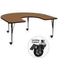 Flash Furniture XU-A6066-HRSE-OAK-T-P-CAS-GG Mobile 60