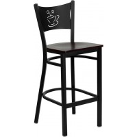 Flash Furniture XU-DG-60114-COF-BAR-MAHW-GG Hercules Series Black Coffee Back Metal Restaurant Barstool - Mahogany Wood Seat