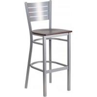 Flash Furniture XU-DG-60402-BAR-WALW-GG Hercules Series Silver Slat Back Metal Restaurant Barstool - Walnut Wood Seat