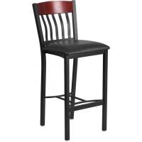 Flash Furniture XU-DG-60618B-MAH-BLKV-GG Eclipse Series Vertical Back Black Metal and Mahogany Wood Restaurant Barstool with Black Vinyl Seat