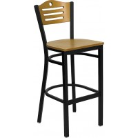Flash Furniture XU-DG-6H3B-SLAT-BAR-NATW-GG Hercules Series Black Slat Back Metal Restaurant Barstool - Natural Wood Back & Seat