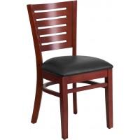 Flash Furniture XU-DG-W0108-MAH-BLKV-GG Darby Series Slat Back Mahogany Wood Restaurant Chair - Black Vinyl Seat