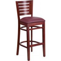 Flash Furniture XU-DG-W0108BBAR-MAH-BURV-GG Darby Series Slat Back Mahogany Wood Restaurant Barstool - Burgundy Vinyl Seat